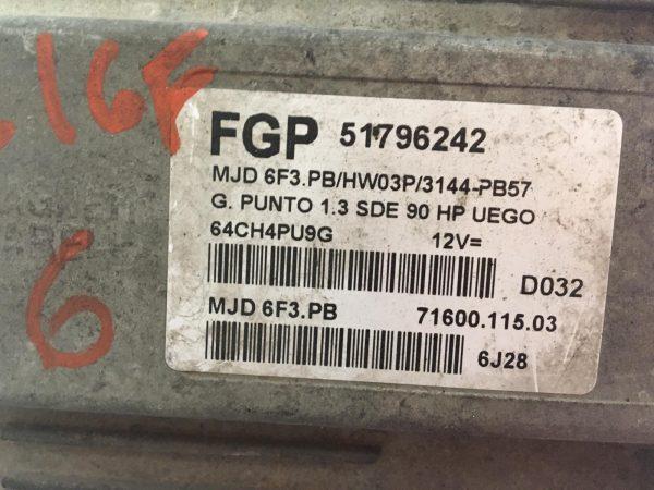 Centralina Motore 51796242 Fiat Grande Punto 1300 90cv, Centralina Body 00517954290, Quadro Strumenti 51718552